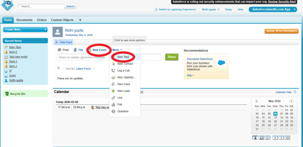 Create new events in salesforce