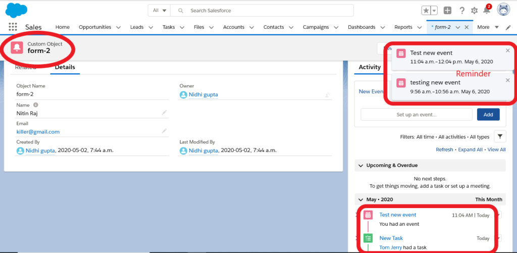 Events in salesforce lightning