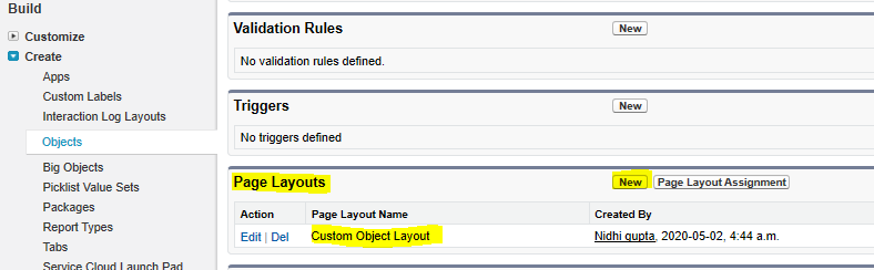 Creating new page layout in salesforce