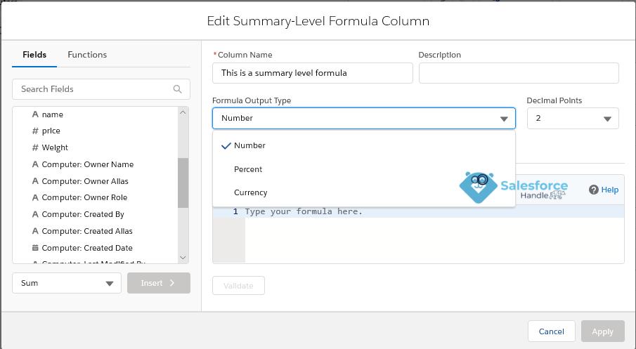 Summary Formula Column in Lightning Reports