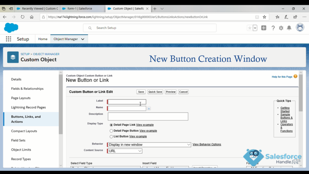 Custom Buttons in Salesforce